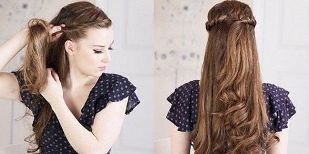 Простая прическа на каждый день на длинные волосы с челкой