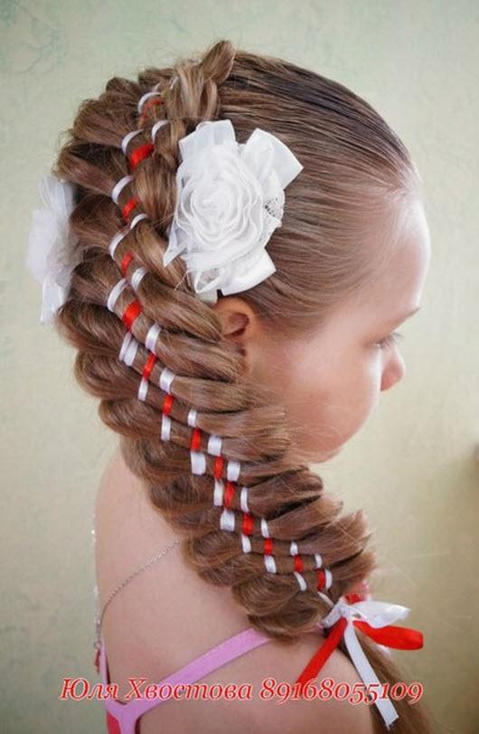 Пошаговое плетение косы с лентами