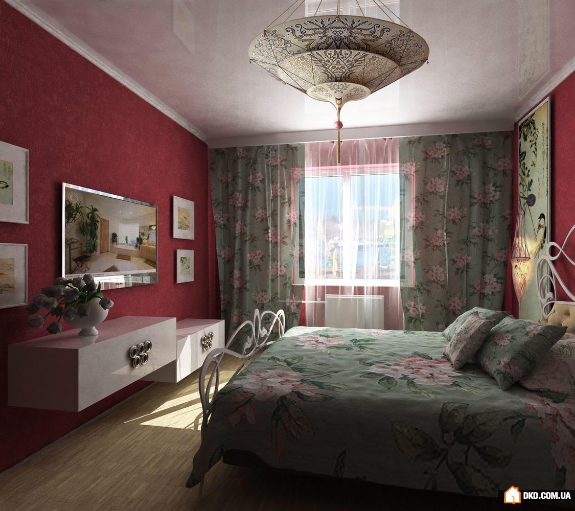 Интерьер спальни фото в бордовых тонах