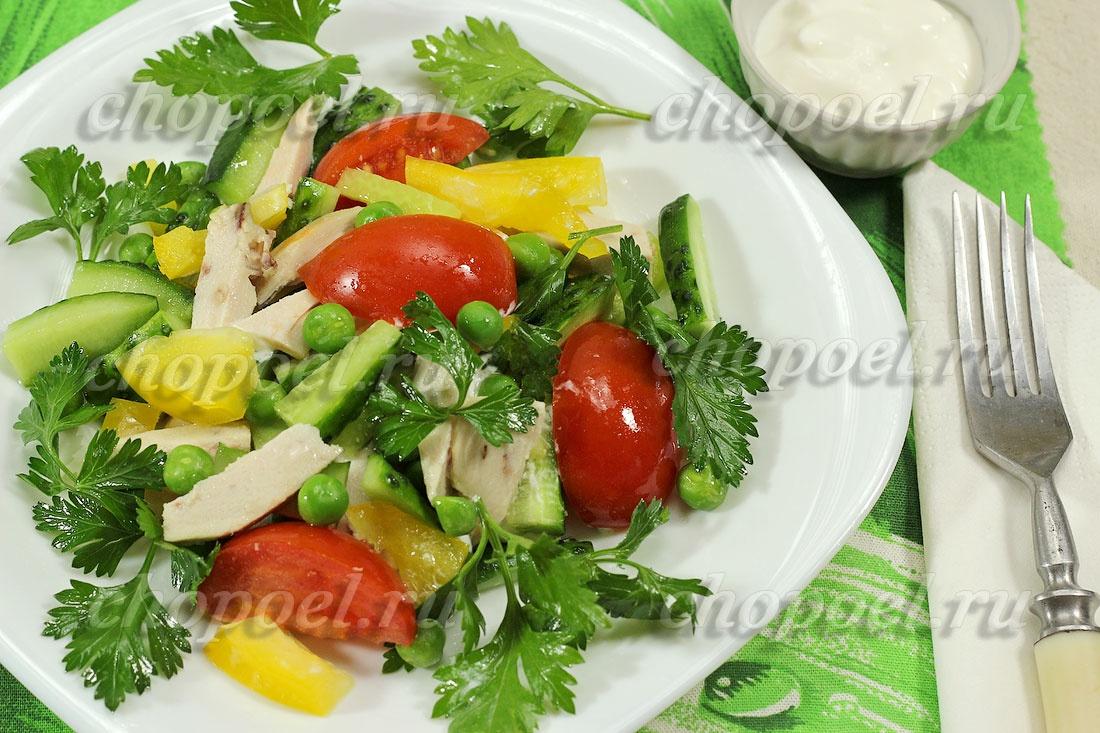 Легкие вкусныеы салатов из курицы