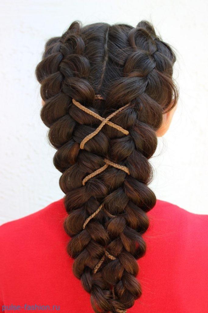 Колоски на длинные волосы своими руками фото