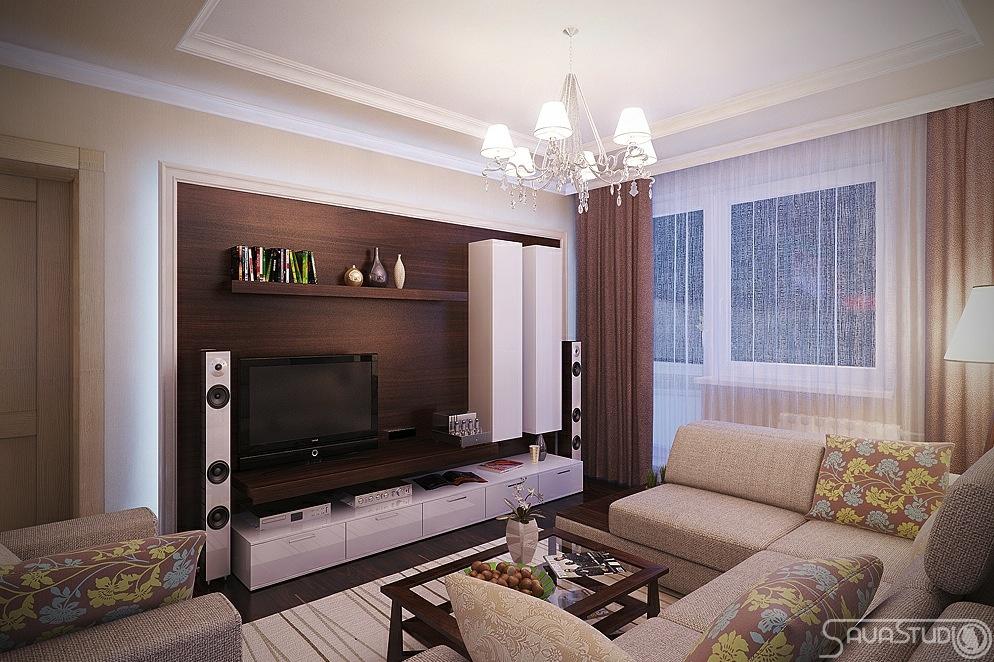 Дизайн гостиной дск с угловым окном