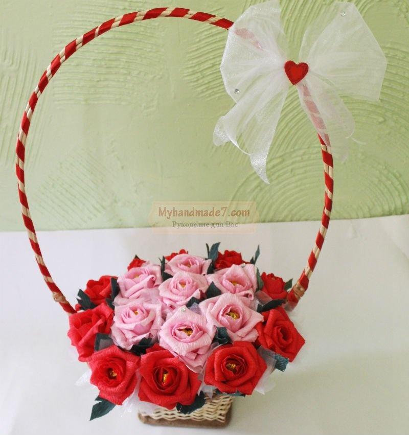 Корзина роз из конфет своими руками пошаговое