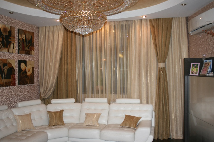 Фото дизайна штор для зала