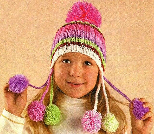 Зимняя шапочка с помпонами для девочки - карточка от пользователя gorbunova.nastasenok в Яндекс.Коллекциях