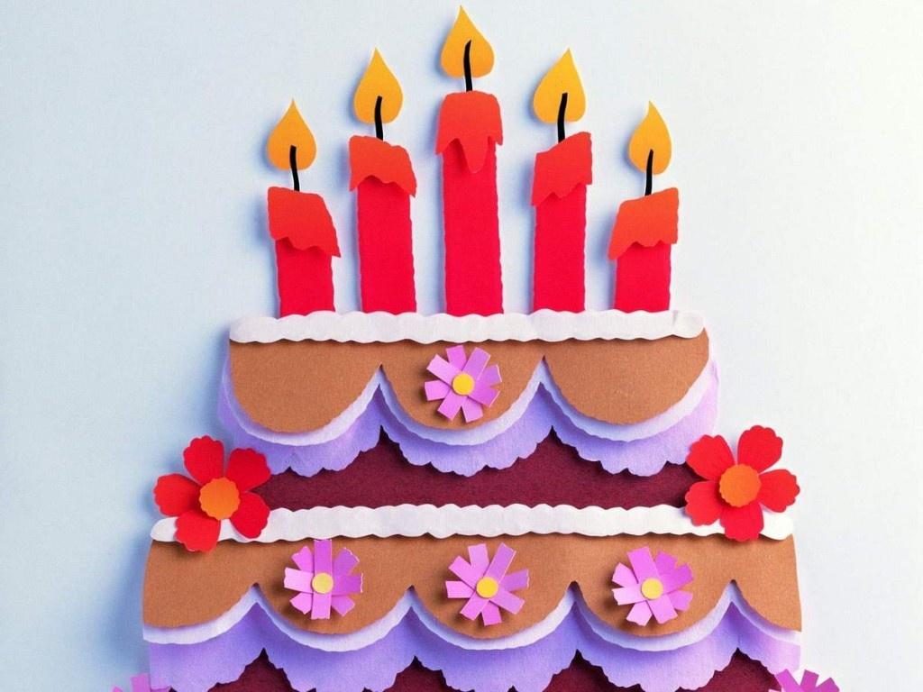 Открытка с днём рождения своими руками торт