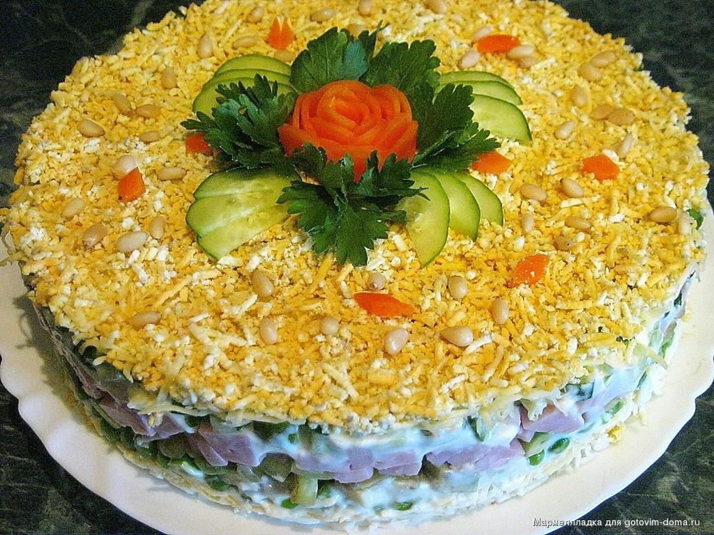 Салат праздничный с ветчиной рецепт с пошагово в