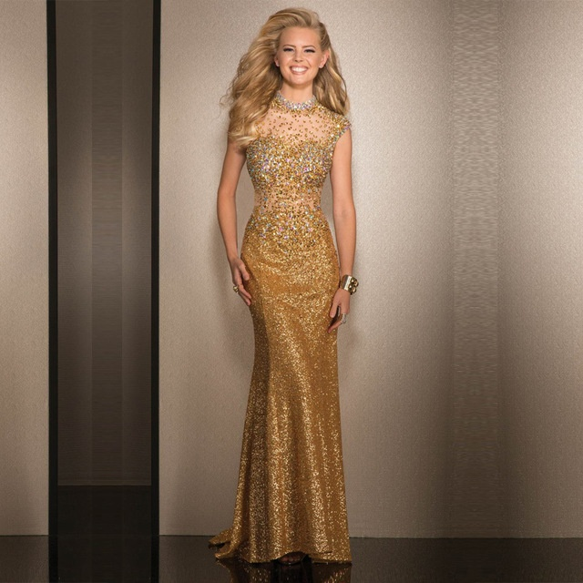 Длинные золотые платья в пол