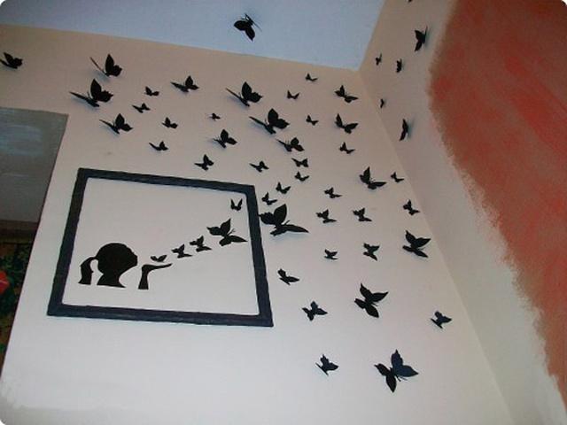 Бабочки на стене своими руками из бумаги фото