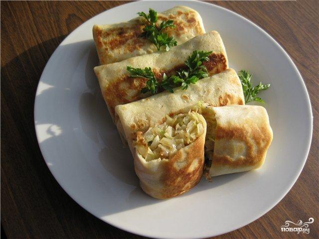 Рецепт блинов с капустой