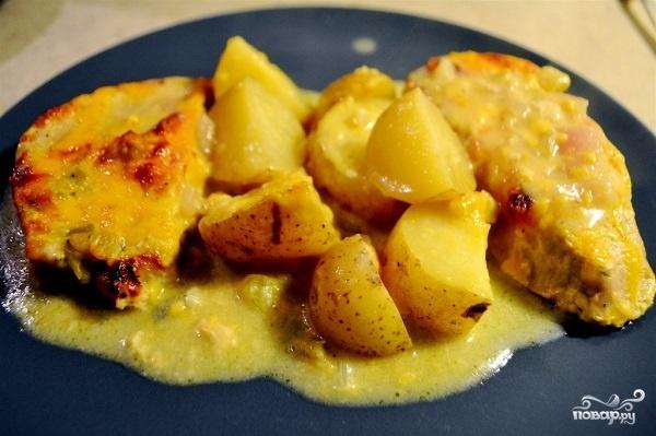 Картошка со свининой с сыром в духовке рецепт с пошагово в
