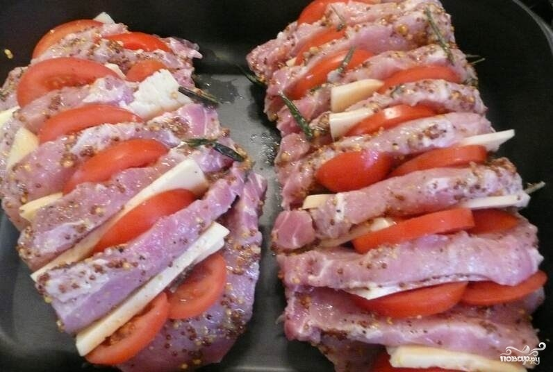 Свинина с помидорами и сыром в духовке без майонеза рецепты