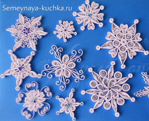 Объемные снежинки квиллинг своими руками