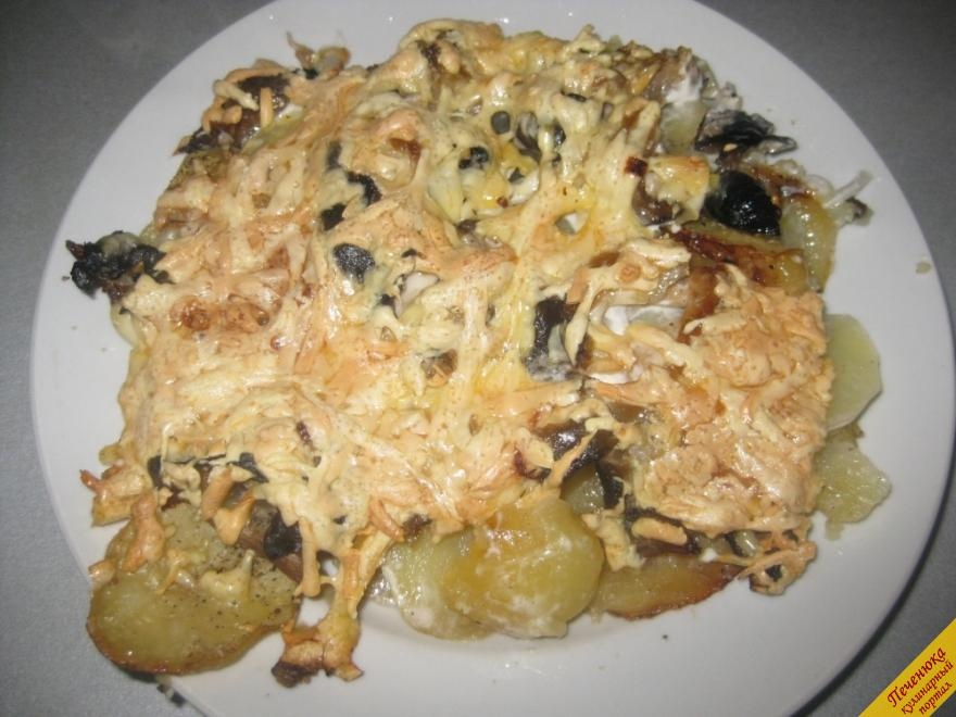 Картошка с грибами в духовке пошаговый рецепт с