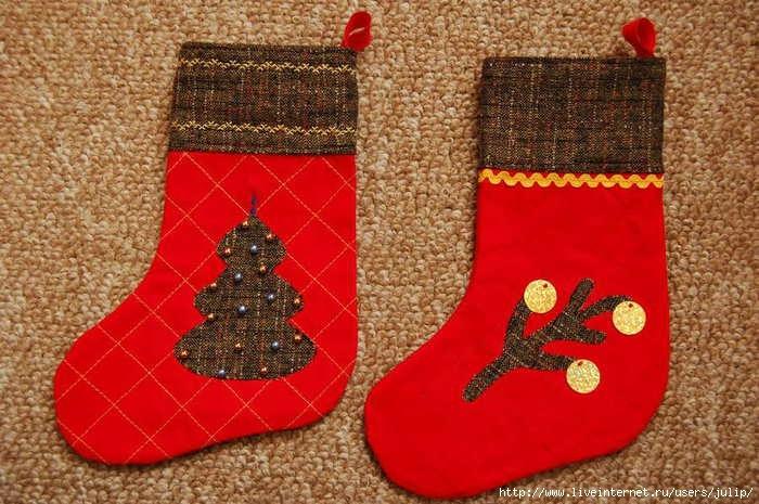 Новогодний носок для подарков своими руками из картона