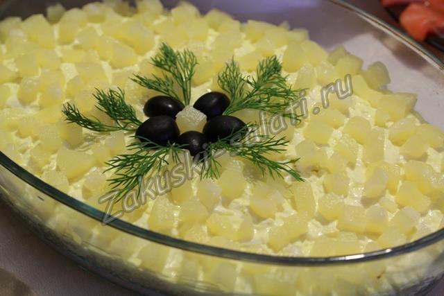 Салат нежный с ананасом и курицей слоями рецепт с пошагово