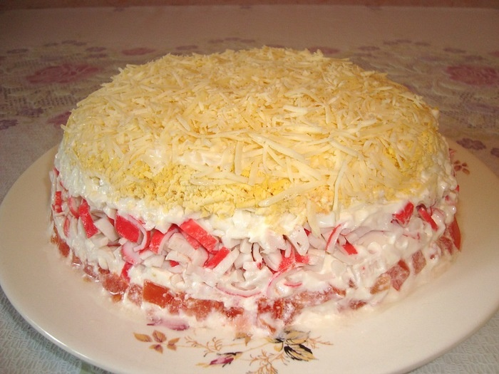 Салат нежность рецепт с слоями с ветчиной