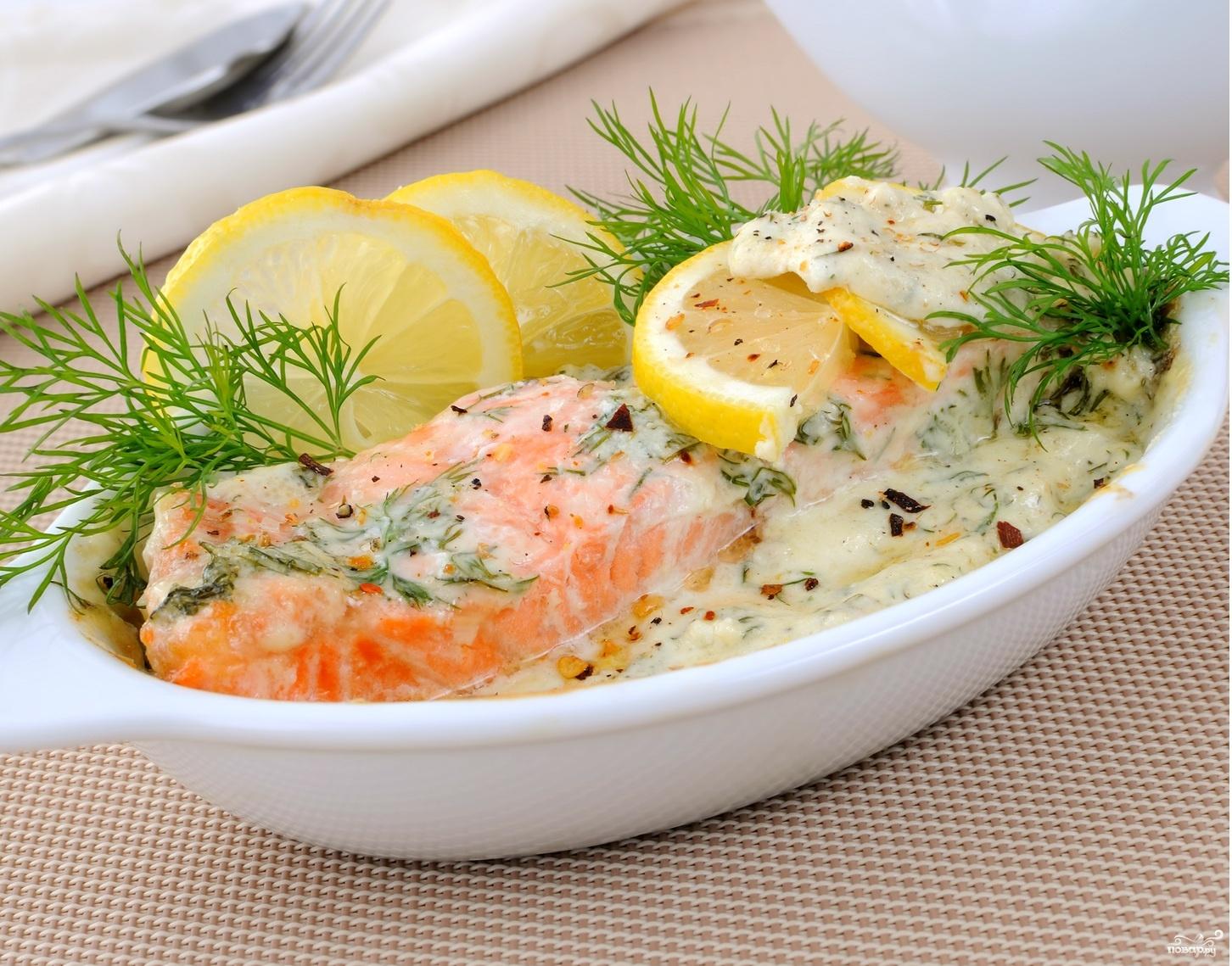Рыба в сливочном соусе в духовке с фото