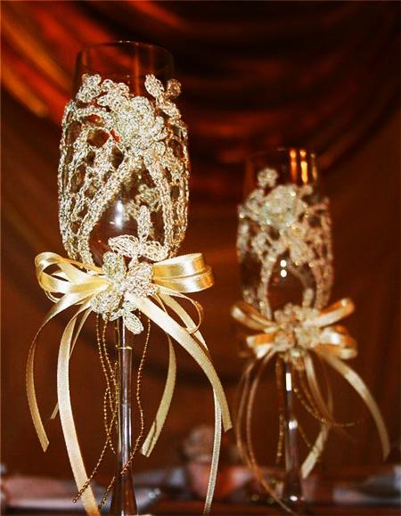 Как украшать свадебные бокалы своими руками мастер класс