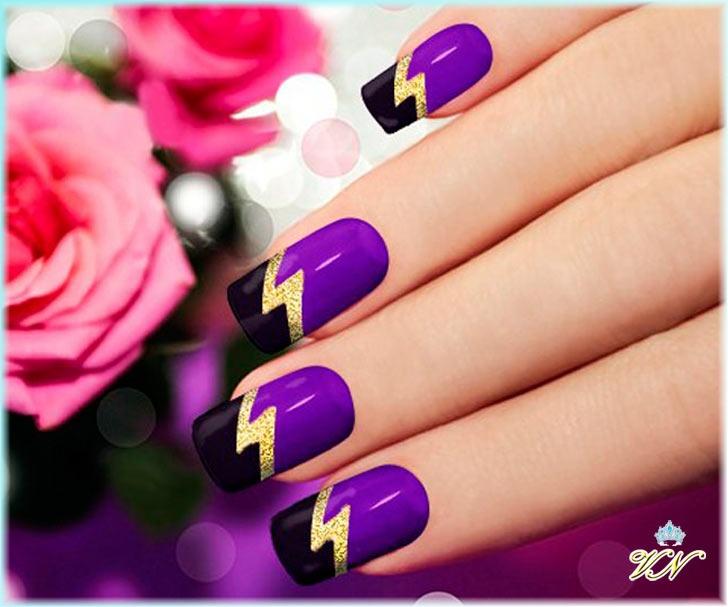 С чем сочетается фиолетовый цвет на ногтях