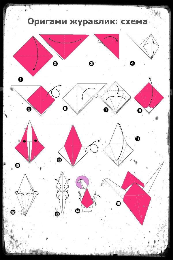 Журавлик из бумаги своими руками пошаговая инструкция фото