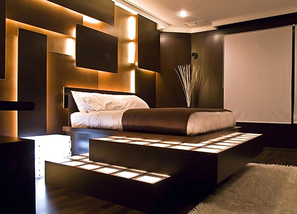 Фото современный дизайн кровати на подиуме