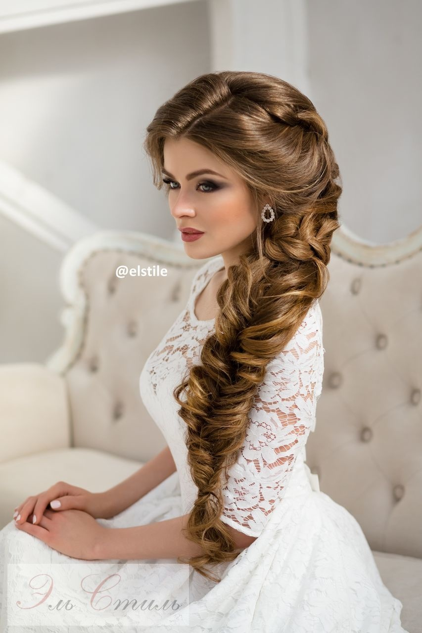 свадебные прически волос косы