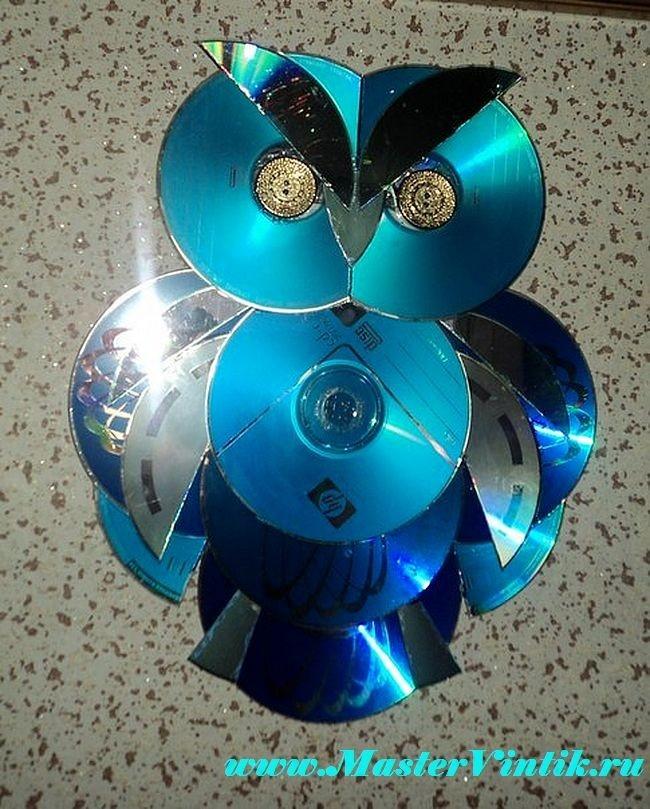 Сова из дисков своими руками пошагово