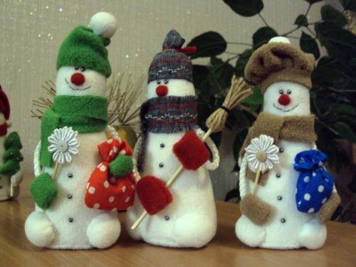 Как сделать новогодние игрушки снеговик