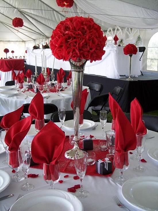 Красный цвет для свадьбы украшения