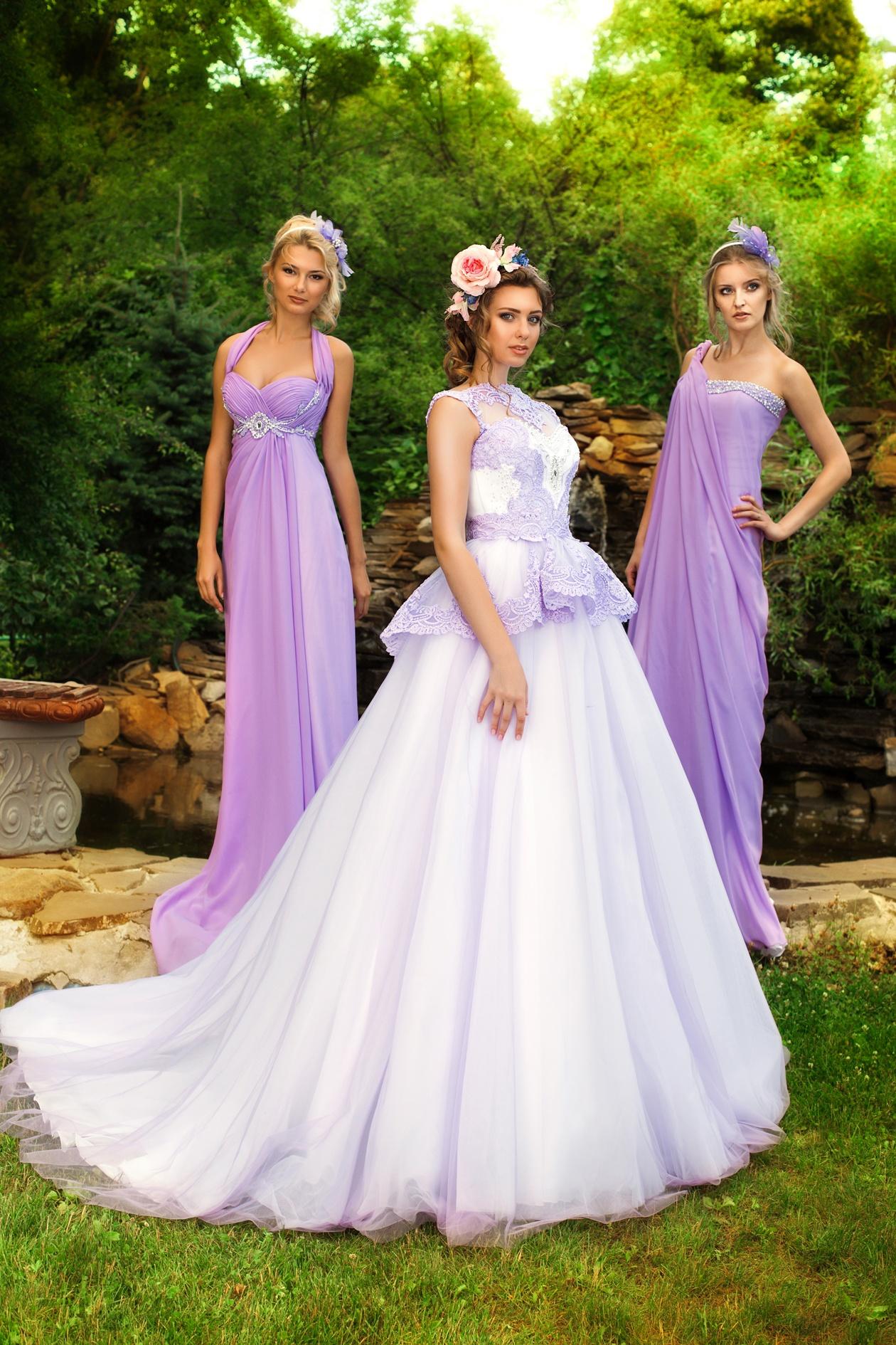 Платья фиолетового цвета для подружек невесты