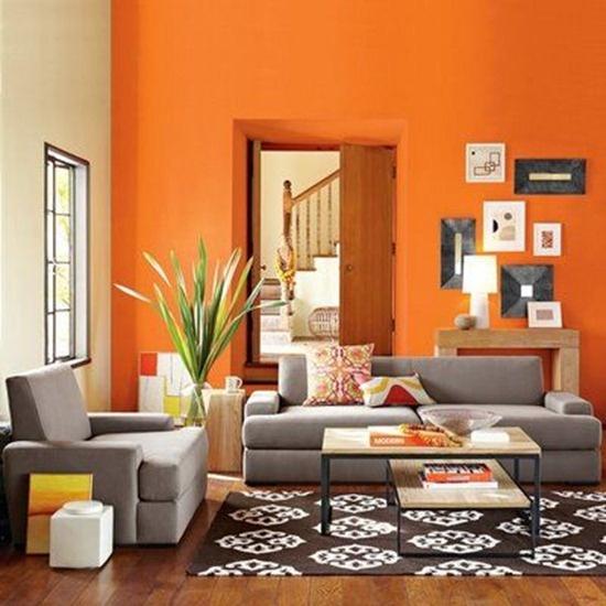 Оранжевый цвет в сочетании с зеленым в интерьере