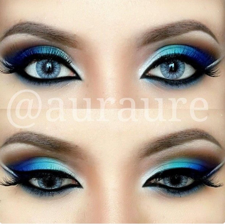 Макияж для голубых глаз к черному платью