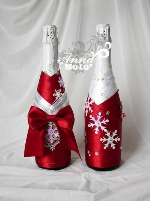 Украшаем бутылки своими руками на новый год