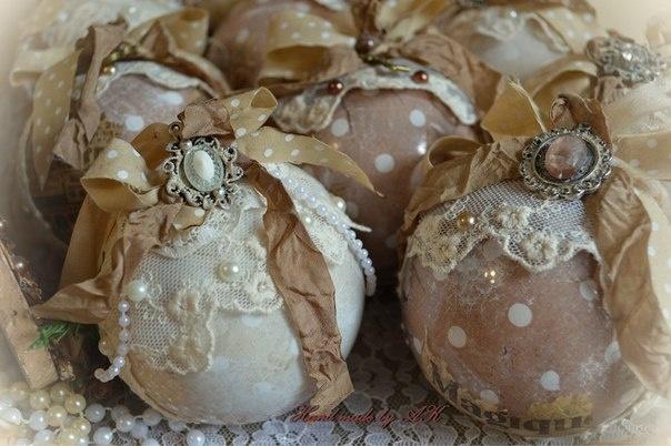 Елочные шары в стиле шебби шик своими руками