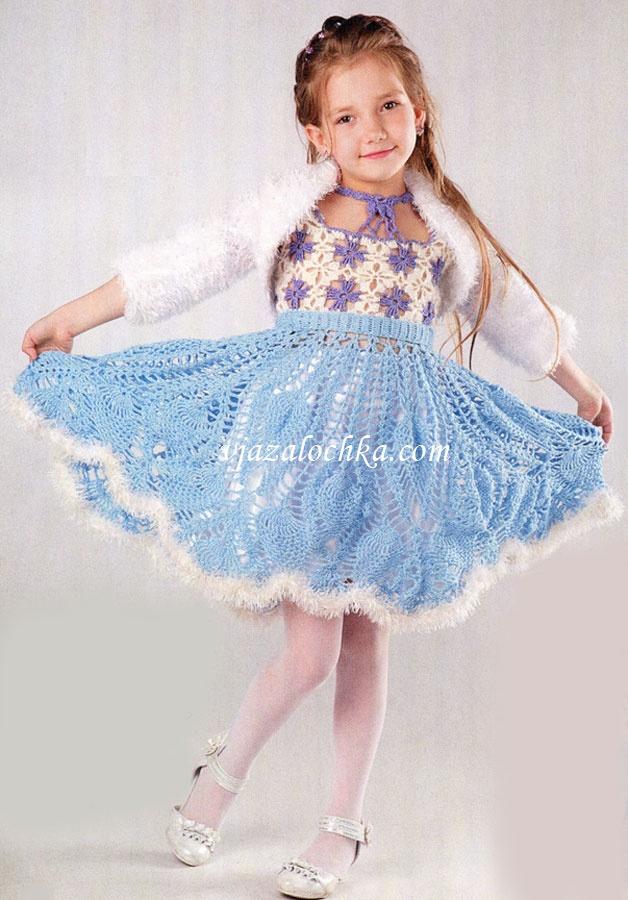 Вязаное платье крючком на новый год