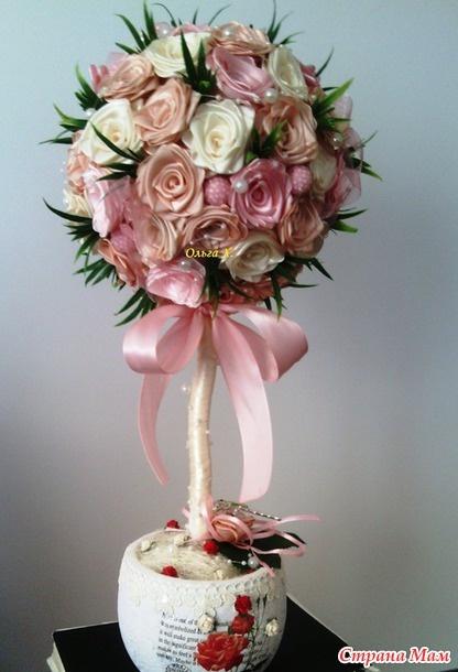 Топиарий розы из атласных лент своими руками пошагово