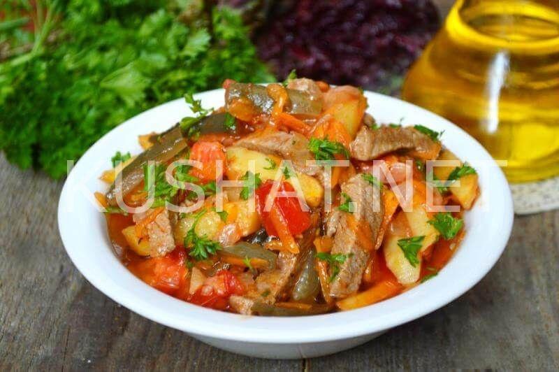 Рецепт азу с картошкой и солеными огурцами
