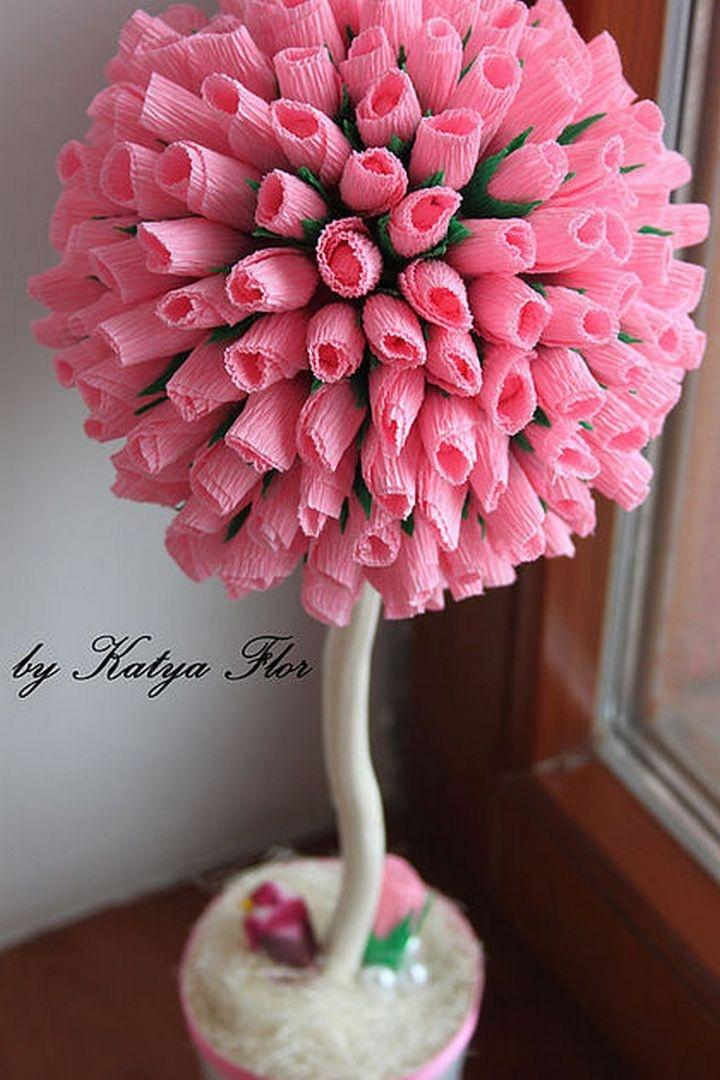 Топиарий своими руками с розами из бумаги