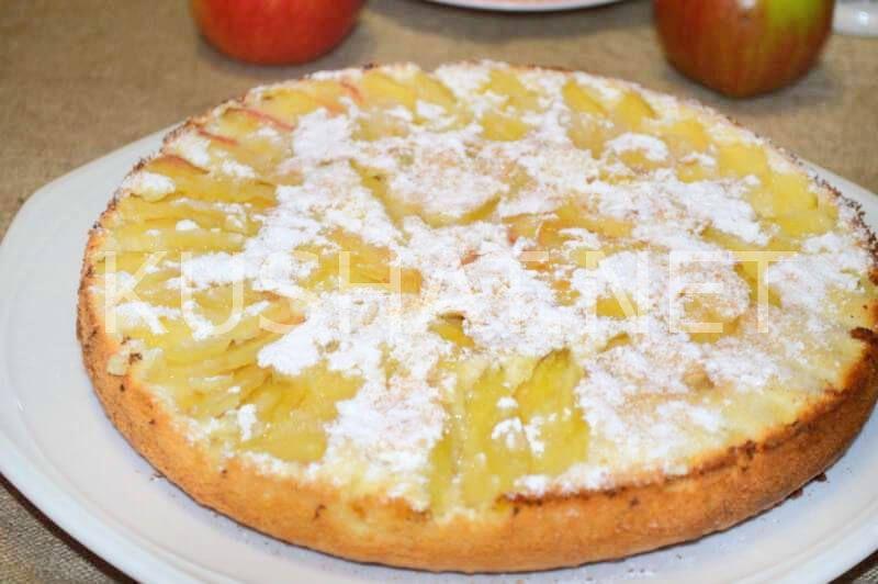 Большой пирог с яблоками рецепт с