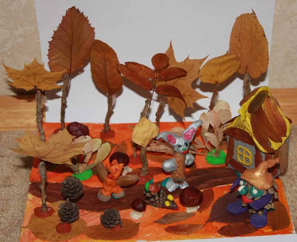 Поделки из пластилина и природного материала на тему осень