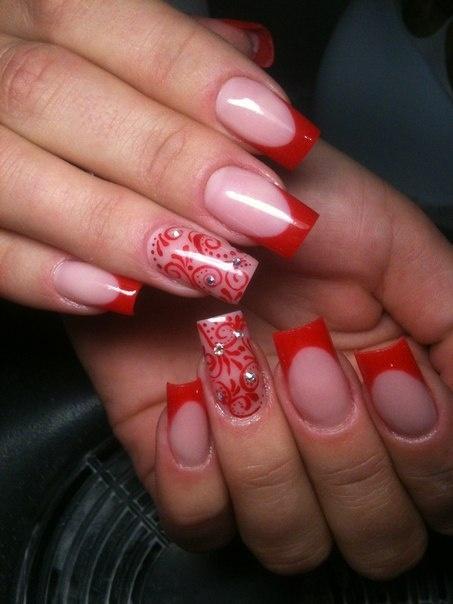 Ногти дизайн нарощенные красные