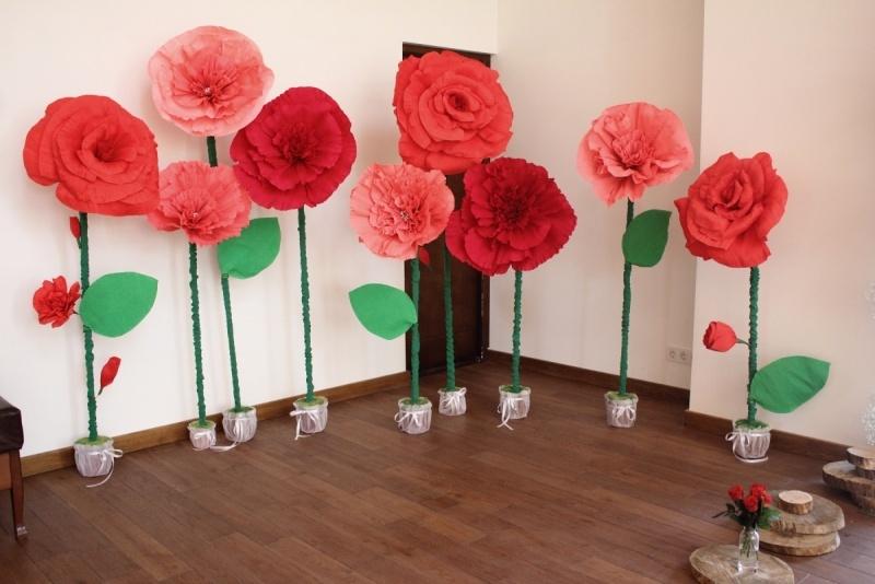 Бумажные цветы из бумаги большие