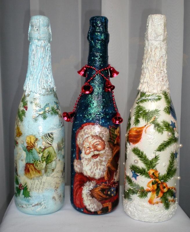 Фото украшаем шампанское на новый год своими руками