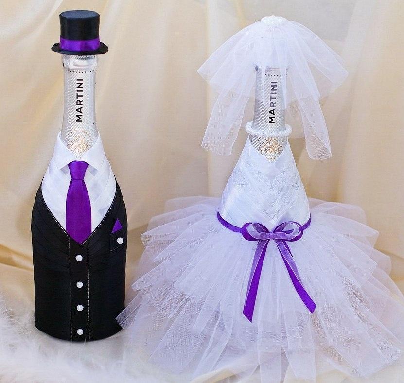 Украшение на бутылки на свадьбу своими руками мастер класс