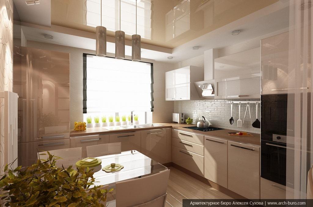 Дизайн кухни совмещенной с подоконником