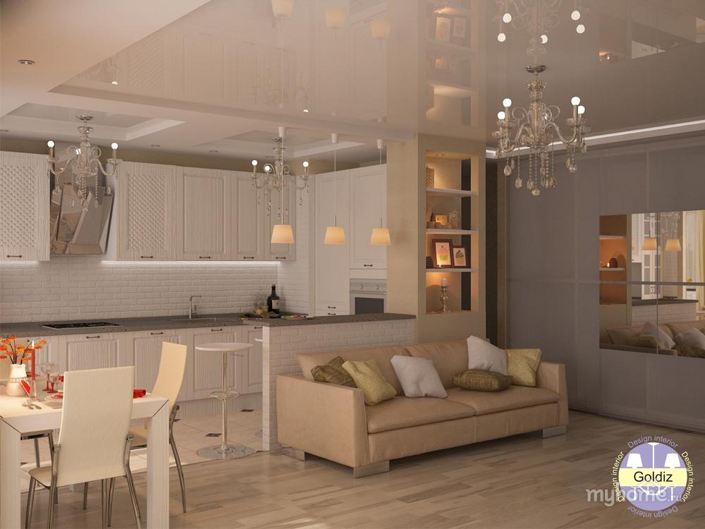 Дизайн кухни совмещенной с гостиной фото 2015 современные ид.