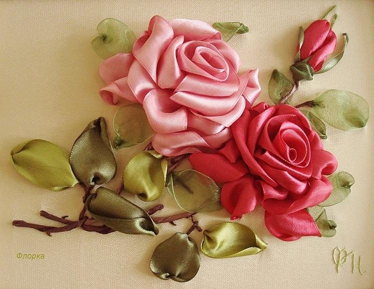 Вышиваем лентами розу мастер класс видео