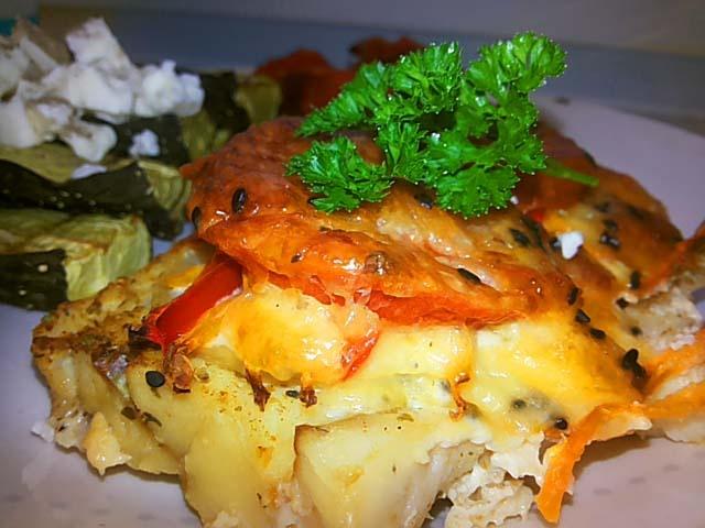Приготовить филе трески с овощами в духовке