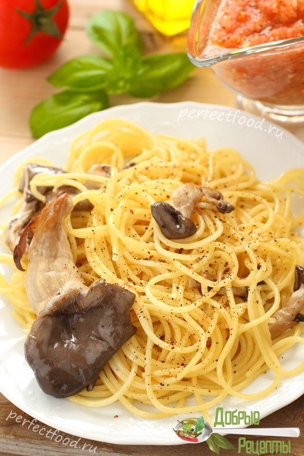Рецепт макарон с вешенками